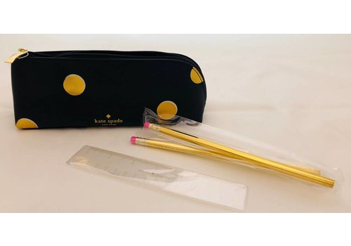 Kate Spade Gold Dot Pencil Case