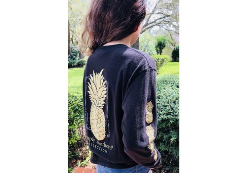 SIMPLY SOUTHERN Youth Simply Southern Long Sleeved Black with Gold Pineapple Tee