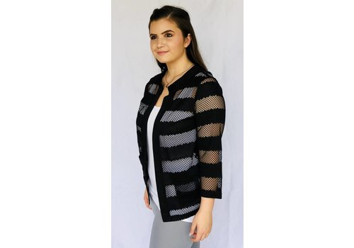 Black Striped Open Weave Cardigan