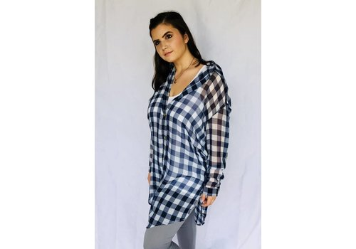 Sheer Blue or Silver and White Long Tunic Button Down