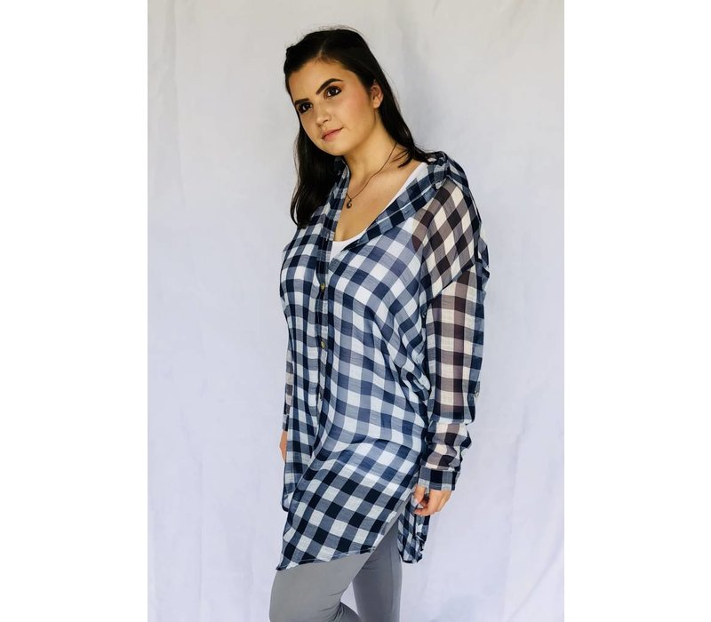 sheer blue or silver and white long tunic button down firefly lilies