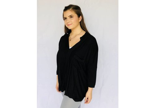 Black cotton top with criss-cross front detail