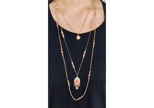 3 (attached) beaded necklaces with drop pendant