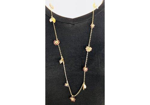 daisy crystal bead necklace