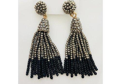 pewter and black beaded tassel earrings