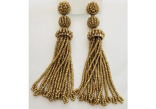 gold beaded tassel earrings