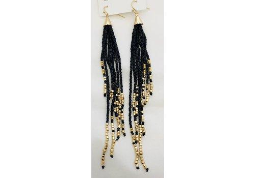 black and gold beaded dangle earrings