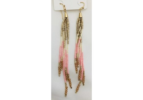 pink white and gold beaded dangle earrings