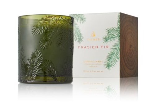 THYMES Frasier Fir Candle, Molded Green Glass