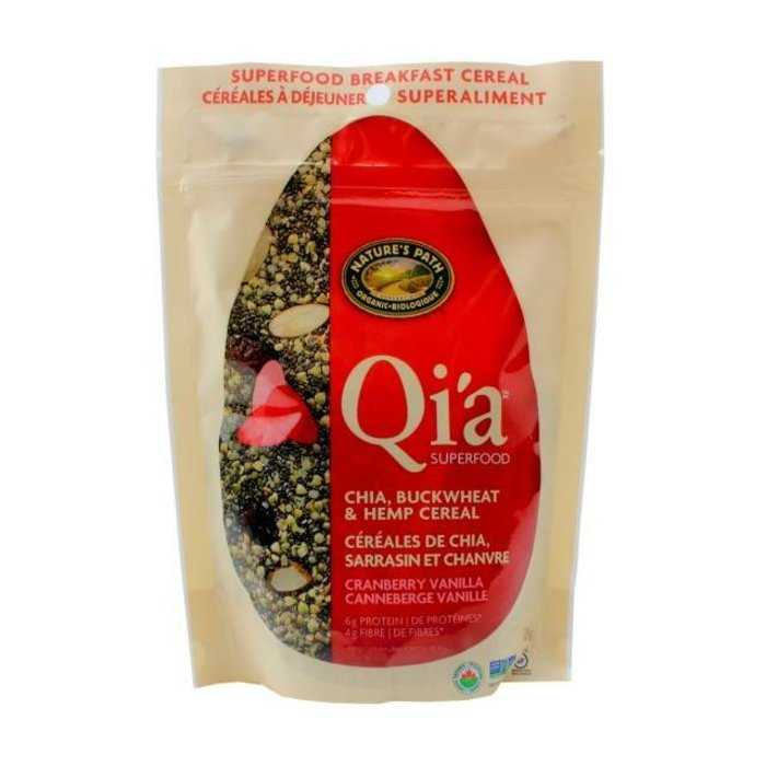 Qi'a Cereales de chia, sarrasin & chanvre Canneberges vanille 225 g