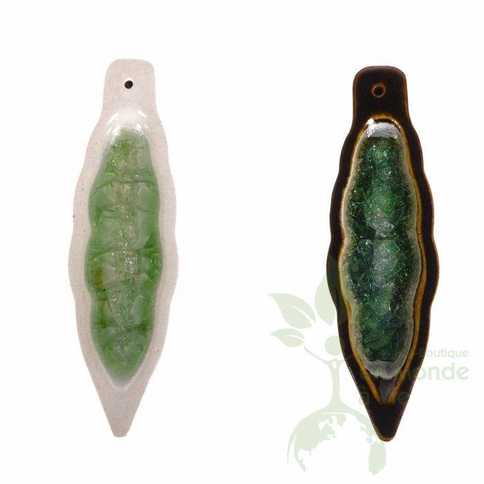 TOUT NATUREL Encensoir en ceramique avec verre fondu (feuille)