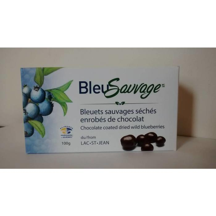 Bleuets sauvages seches enrobes de chocolat 100g