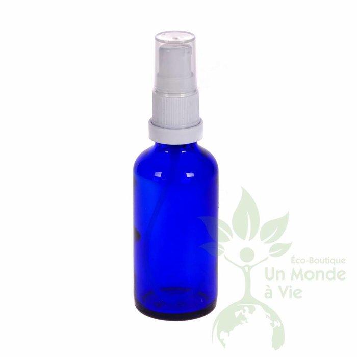 Bouteille bleue 30 ml avec vapo blanc ou compte-goutte