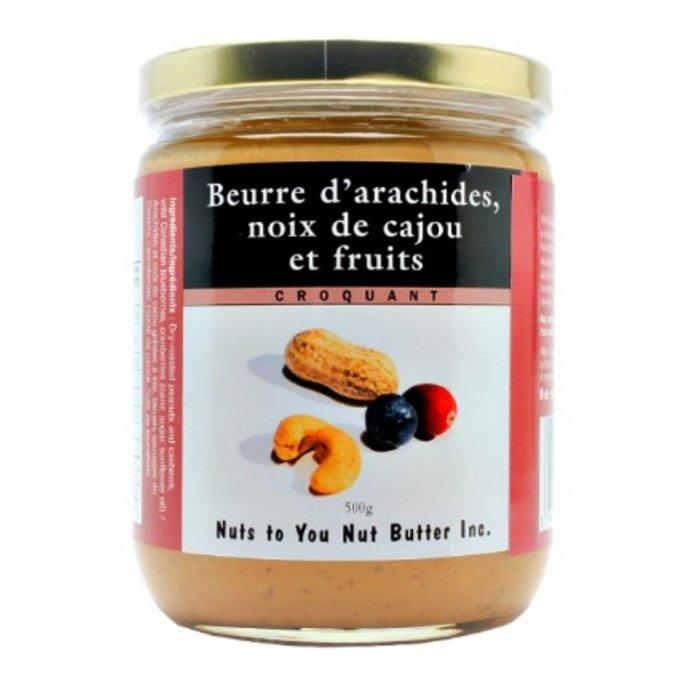 Beurre arachides, cajou, fruits, croquant 500g