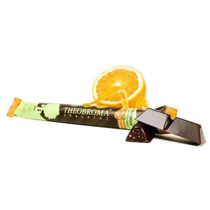 Barre chocolat 60% éclats d'orange 35g