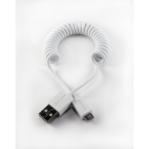 Coiled Micro USB data cable - (white)