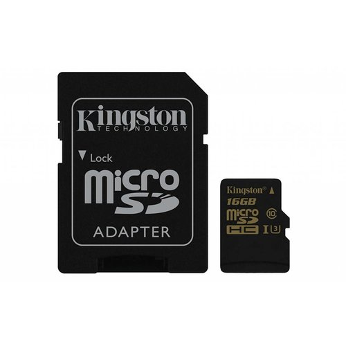 Kingston Kingston 16GB Microsd HC Class U3 UHS-I 90R/45W + SD Adapter