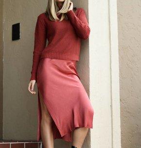Mink Pink Rose Coloured Glass Skirt