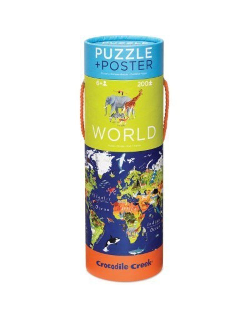 Crocodile Creek World Puzzle + Poster 200 pc