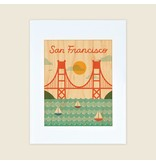 Petit Collage San Francisco Bridge, Unframed 11x17