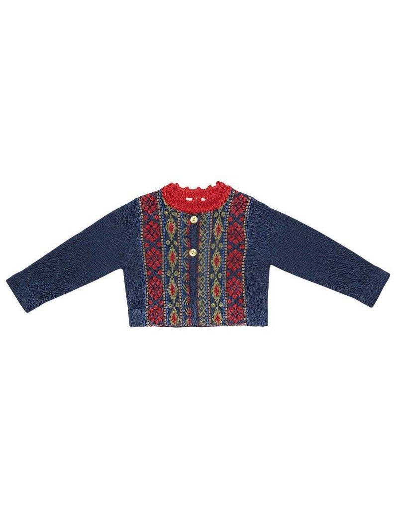 Pink Chicken Fair Isle Baby Sweater