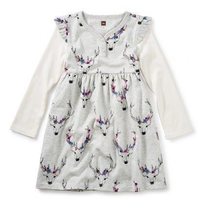 Tea Collection Oh Deer Button Neck Dress