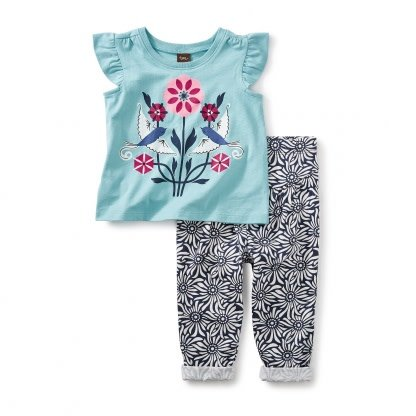 Tea Collection LoveBirds Baby Outfit