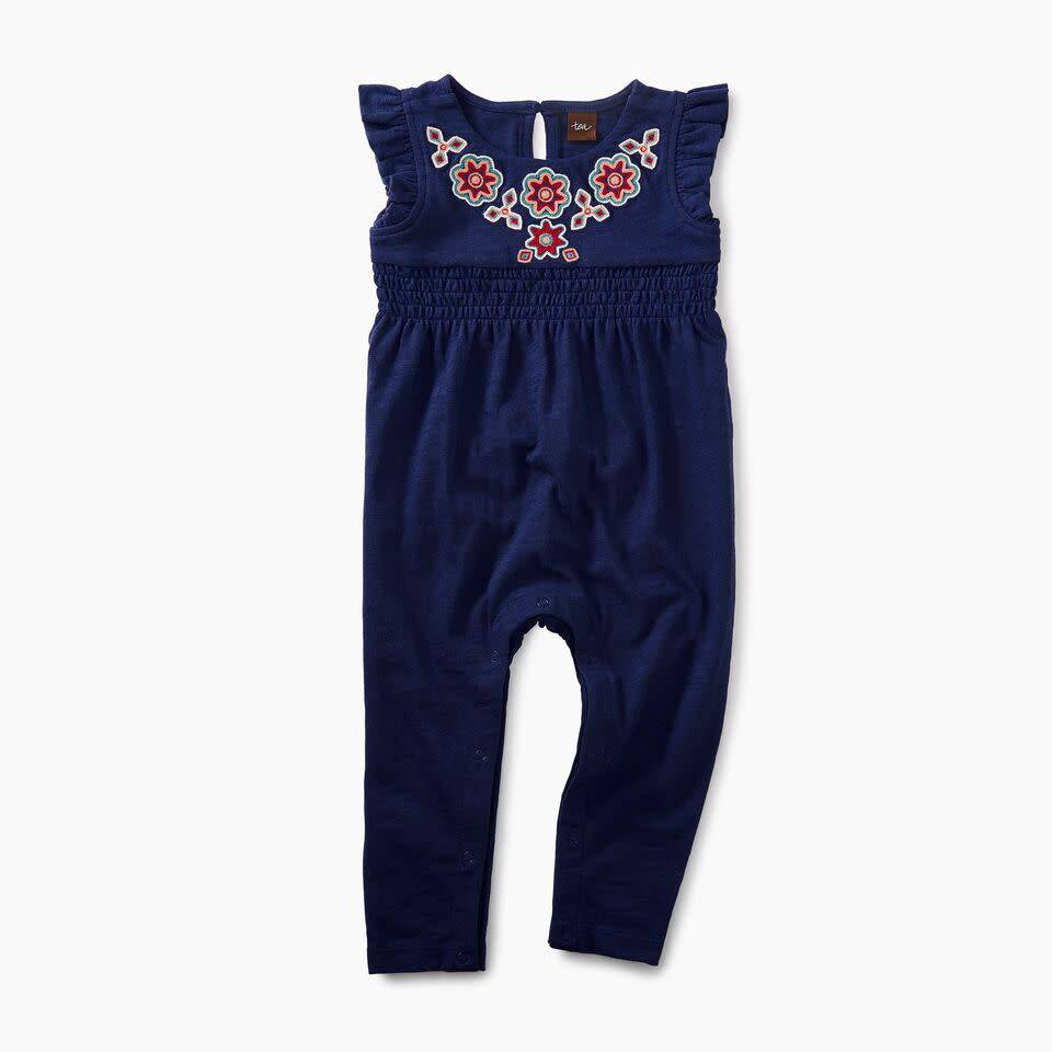 Tea Collection Berry Embroidered Twilight Romper