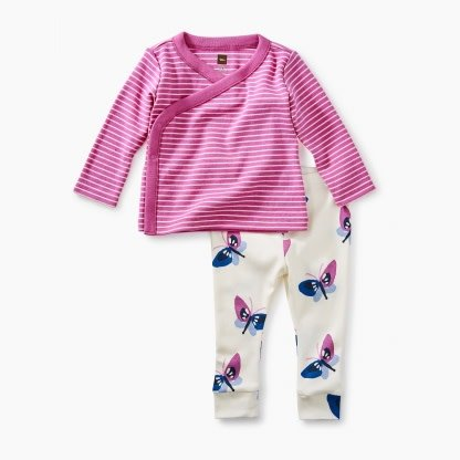 Tea Collection Pale Plum Wrap Top Baby Outfit