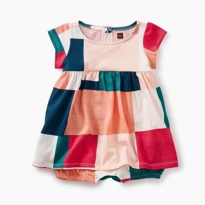 Tea Collection Geo Patchwork Romper Dress