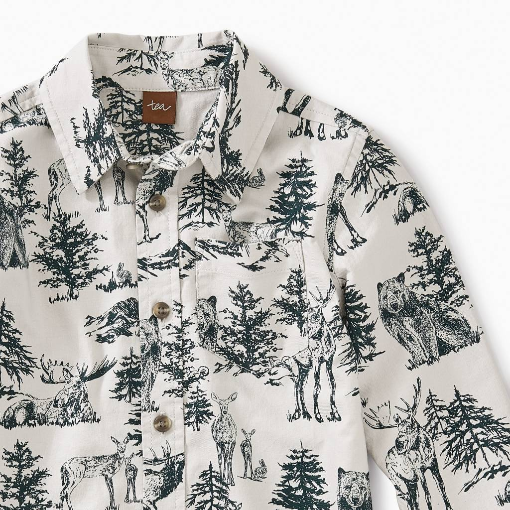 Tea Collection Forest Toile Button Shirt