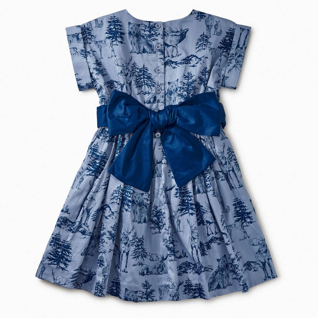 Tea Collection Forest Toile Patterned Sash Dress
