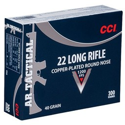 CCI 22 LR AR Tactical 40 Grain Copper-Plated Round Nose 300 Cartridges