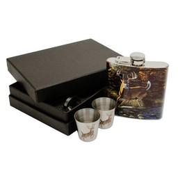 Rivers Edge Deer Flask / Shot Glass Gift Pack