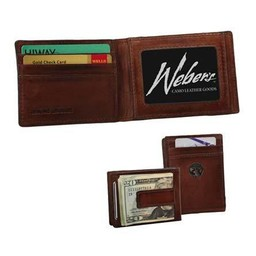 Weber's Leather Front Pocket Wallet w/ Money Clip and Concho