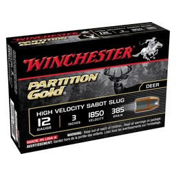 Winchester Partition Gold High Velocity Sabot Slug Shotgun Shells