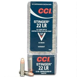 CCI Stinger .22LR CPHP 32 Grain 1640 FPS 50 Rounds