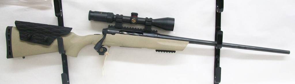 Savage Arms UG-12052 USED Savage Axis .223 Rem. Luted Bolt Sleeve and Extended Bolt Handle Desert Tan Stock w/ Custom Made Carbon Fiber Cheek Riser