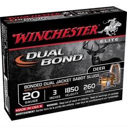 "Winchester Supreme Elite 20 Gauge 3"" 260 Grain Dual Bonded Dual Jacket Sabot Slugs (5-Rounds)"