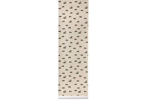Ferm Living Rabbit Wall Paper Pink