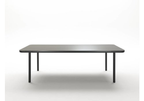 Coedition Dining table in gunmetal, matte glass & wood