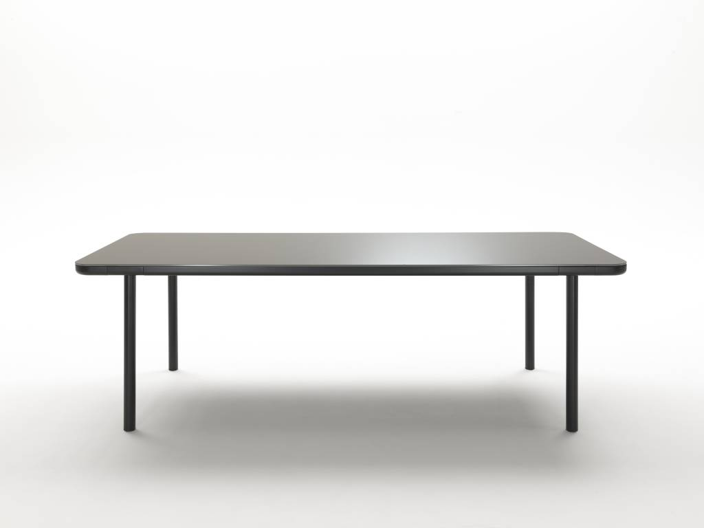 Glass wood dining table - Coedition Dining Table Gunmetal Matte Glass Wood