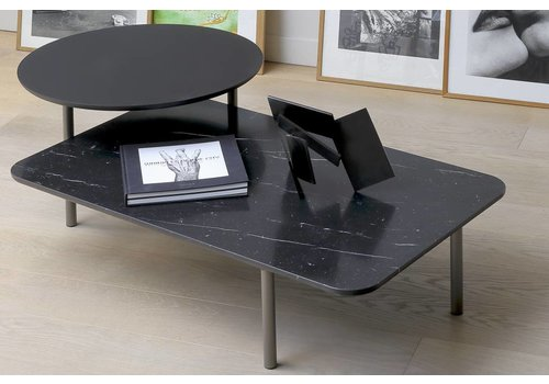 Coedition Coffee table in matte marble & wood