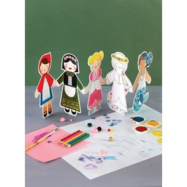 Petit Collage Fairy Tales Paper Doll Chain Craft & Colour