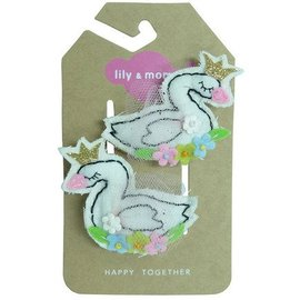 lily & momo Sweet Sparkle Swans Hair Clips