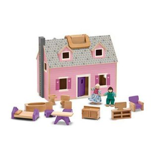 Melissa & Doug Wooden Fold & Go Mini Dollhouse