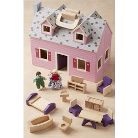 Melissa & Doug Wooden Fold & Go Mini Dollhouse