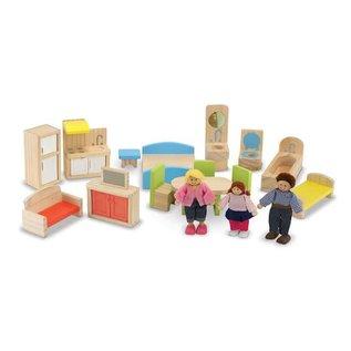Melissa & Doug Hi-Rise Wooden Dollhouse and Furniture Set