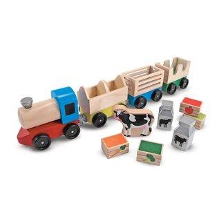 Melissa & Doug Wooden Farm Train Toy Set