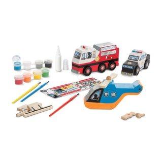 Melissa & Doug Decorate-Your-Own Wooden Rescue Vehicles Set